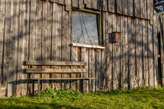 Bench in front of a shack Royalty Free Stock Images