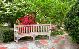 Bench in the garden Stock Photo