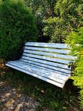 Bench in the garden in front of some shrubs. White old bench in the garden in front of some green bushes. Standing on stones, sand and grass stock photos