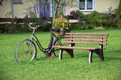 Bench in the garden. By leaning against a tree bicycle stock photos