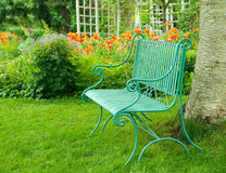 Bench in garden Stock Image