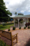 Bench and gazebo in courtyard Royalty Free Stock Image