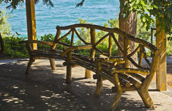 The bench in the gazebo in seaside Park. Aivazovsky.Paradise Park. Partenit. Crimea Stock Photos