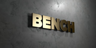 Bench - Gold sign mounted on glossy marble wall  - 3D rendered royalty free stock illustration. This image can be used for an online website banner ad or a Stock Images
