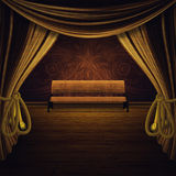 Bench and Golden Curtains Stage Stock Photography