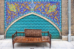 Bench in Golestan palace Royalty Free Stock Photography