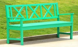Bench. The green bench on the yard in the garden Royalty Free Stock Images