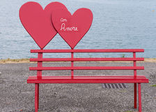 Bench and heart love. Red bench and heart love Stock Photography