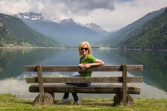 Bench in Alps Royalty Free Stock Photo
