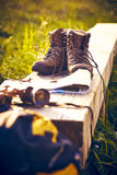 Bench hiking map hiking shoes backpack Stock Image