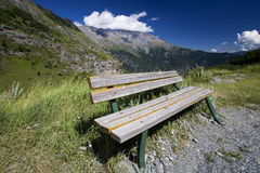 Bench on a hiking trail Stock Images