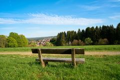 Bench on a hiking trail in Braunlage Stock Photos