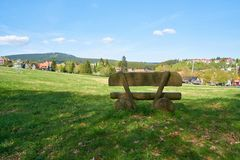 Bench on a hiking trail in Braunlage Stock Photo