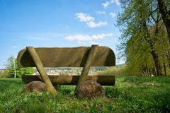 Bench on a hiking trail in Braunlage Royalty Free Stock Photos