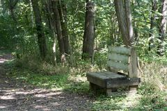 Bench on hiking trail. A large bench for the weary hiker to rest and relax on a hiking trail on Middle Island in the Ohio River royalty free stock image