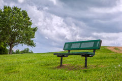 Bench on hill Royalty Free Stock Photo