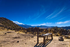Bench on the hill, Peru Royalty Free Stock Photography