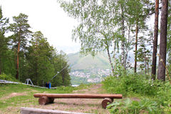 A bench on the hillside. beaver log Royalty Free Stock Photography