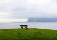 Bench with a hilltop view Royalty Free Stock Image