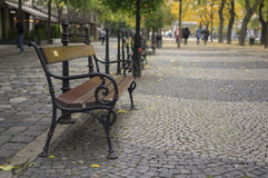 Bench at Hviezdoslavovo namestie square. At Bratislava, capital of Slovakia Royalty Free Stock Photography