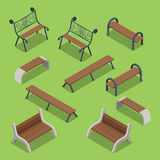 Bench icon set flat isometric vector 3d city objects. Bench icon set. Flat 3d isometry isometric city urban objects collection Stock Photos