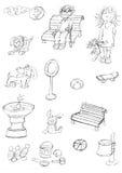 Bench il sole e nuvola del cane del bassotto tedesco del bambino, schizzi e schizzi e scarabocchi della matita Illustrazione Vettoriale