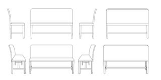 Bench illustration outline set. Perspective 3d front back and side views black and white color Royalty Free Stock Images