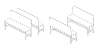 Bench illustration outline set. Perspective 3d views black and white color Royalty Free Stock Photos