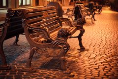 Bench In Night Street Royalty Free Stock Photography