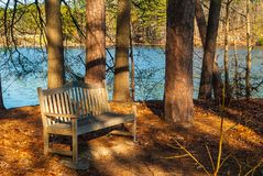 Bench In Stone Mountain Park, USA Stock Photos