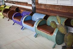 Bench invention Steel tank. Painted colorful stock photography