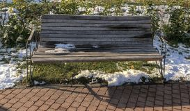 Bench in the IOR park from Bucharest, Romania. In winter royalty free stock photo