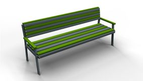 Bench isolated 3d illustration render. Park bench with railings isolated on a white background 3d illustration render Stock Image