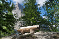 Bench in Italian Alps Royalty Free Stock Images