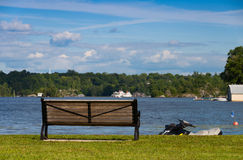 Bench and jet ski Stock Photos