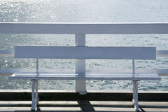 Bench on a jetty Royalty Free Stock Photos