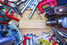 Bench Joiner's tools laid out in the form of a frame Royalty Free Stock Images