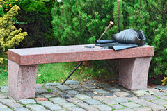 Bench Kant. Kaliningrad (Konigsberg before 1946), Russia. Bench Kant with his hat, cane, and the manuscript. Museum of the World ocean, Kaliningrad (Koenigsberg Stock Photos
