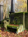 A bench from the Kirkut ... An eclectic tomb in the shape of a bench at the historic Jewish cemetery in Lodz Royalty Free Stock Images
