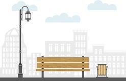 Bench la lampada e l'urna di via nella città Illustrazione di vettore di paesaggio urbano Illustrazione di Stock