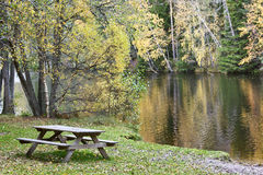 Bench at the lake Stock Photography