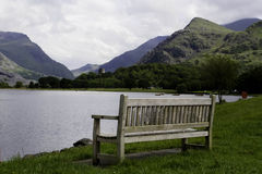 Bench and lake Stock Photo