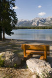Bench at the Lake. Pine bench at the shore of a lake in Jasper National Park, Alberta, Canada Royalty Free Stock Photography