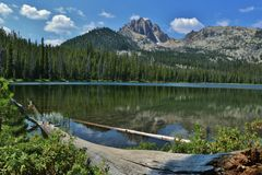 Bench Lake with log Royalty Free Stock Photo
