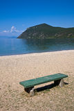 Bench at Lake Ohrid Royalty Free Stock Images