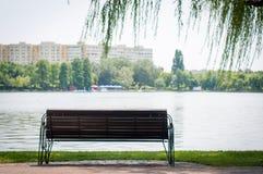 Bench at the lake Stock Image