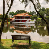 Bench in a Chinese Garden. Singapore. A bench on a lake in a quiet Chinese garden. Singapore Stock Photography