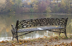 Bench on the lake shore, raw Stock Images