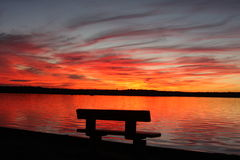 Bench at Lake Weatherford. Taken at Weatherford Lake, East of Weatherford. 19 miles from downtown Fort Worth. Surface area is approx 1,158 acres, Maximum depth Royalty Free Stock Images