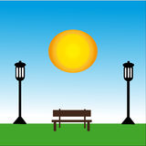 Bench with lamp at day with sun. Vector Illustration Royalty Free Stock Photos